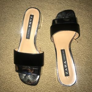 Silver and black Zara sandals